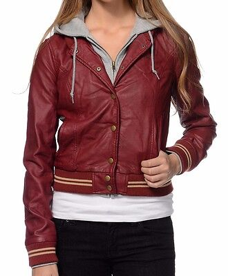 Obey VARSITY LOVER Burgundy Faux Leather Hooded Zipper & Buttons Junior's Jacket