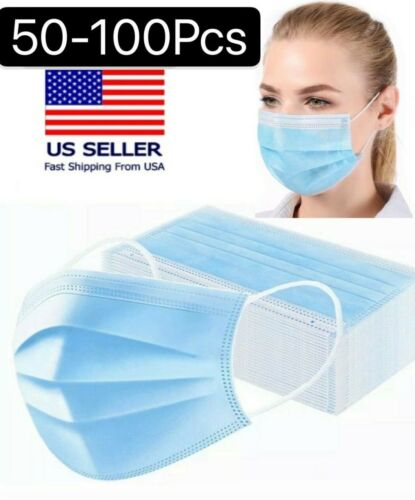 50/100 PCS Blue Face Mask Mouth & Nose Protecting Families Easy Safe USA SELLER