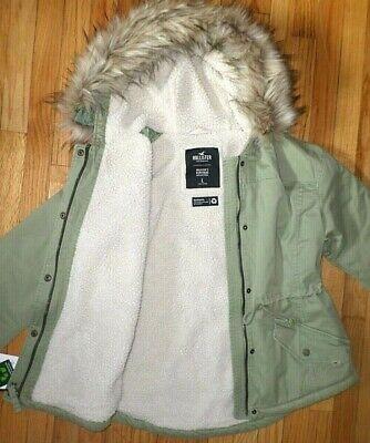 NWT Hollister/Abercrombie Women Size Large Sherpa Lined Anorak Jacket Coat Olive