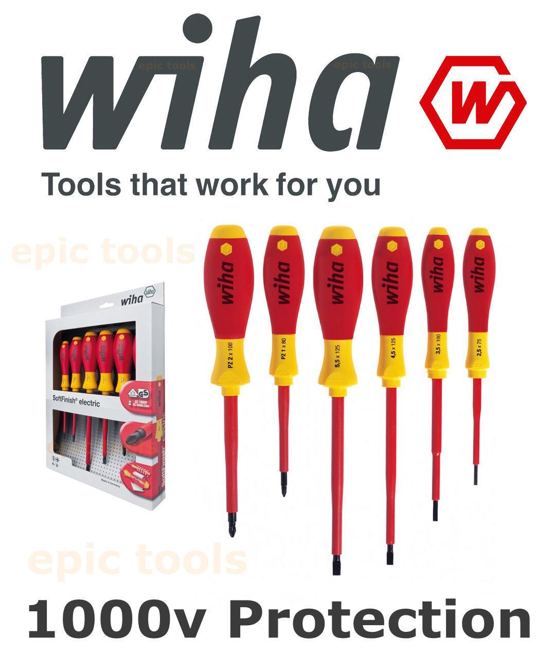 Wiha 25477 6 Piece VDE 1000v Slot//Pozi Softfinish Screwdriver Set PZ1 PZ2 Flat