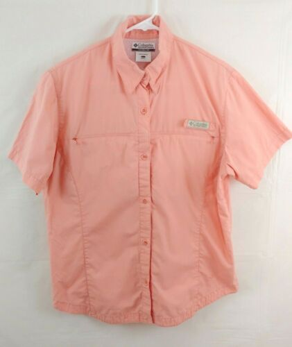 Columbia Womens Top Large Short Sleeve Button Front Hiking Camping Vented Pink