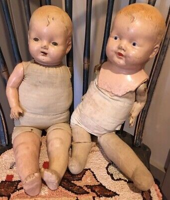 Scary Eyes For Halloween (2 scary antique dolls for Halloween decorations creepy - 1 eyes open & squeaks)