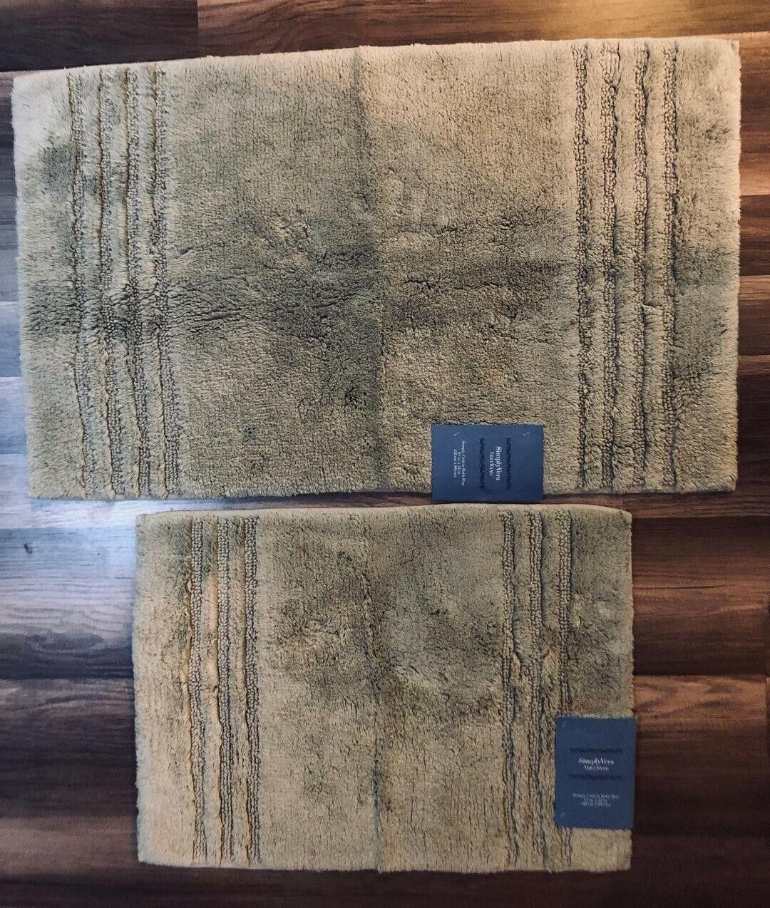 NWT Set of 2 Simply Vera Wang Plush Bath Rugs Sage Light Gre