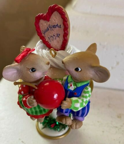 Just Married 2004, Christmas Ornament, AGC, Adorable Mice, Ice-cream Cherry Love