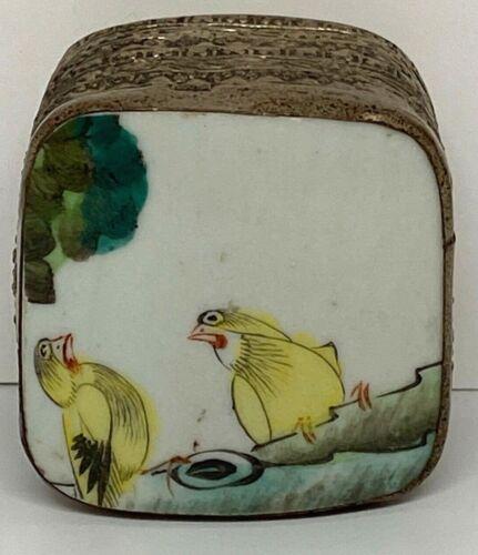 Porcelain Shard Aluminum Trinket Box Yellow Birds on a Limb Ships Free MK