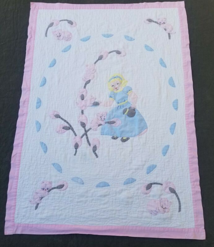 VTG Handmade Baby Infant Quilt Crib Princess Bedding 35 x 48 Pink White Blue
