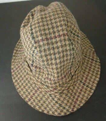 Vintage Abercrombie Fitch Pure Wool Tweed Houndstooth Walking Bucket Hat M/L