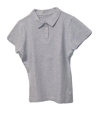 Burberry Women's Polo Shirt Size Medium Light Grey  Short Sleeve Pre Owned