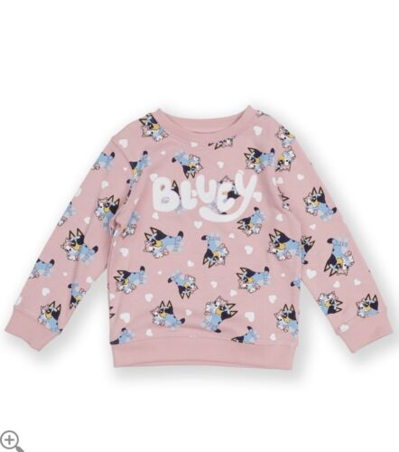 New Genuine Size 1/2/3/4/5 Bluey Pink Kid Girl Sweatshirt Jumper