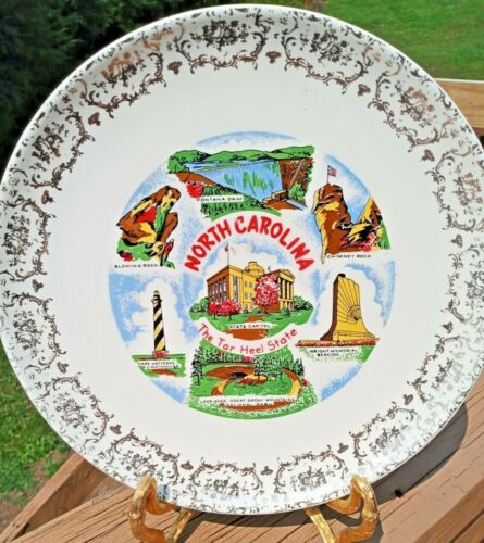 """North Carolina The Tar Heel State Collector Plate 9"""" Silver Metallic Paint"""