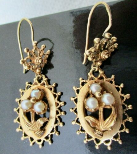 ANTIQUE 14K SOLID GOLD PEARL EARRINGS OUTSTANDING QUALITY CUSTOM MADE