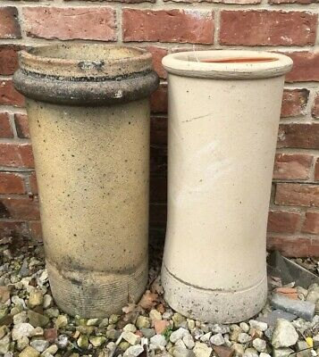PAIR OF VICTORIAN BUFF COLOURED CHIMNEY POTS