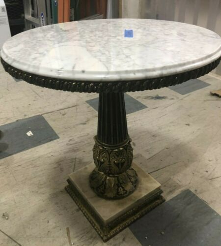 Vintage Marble Top Accent Round Table