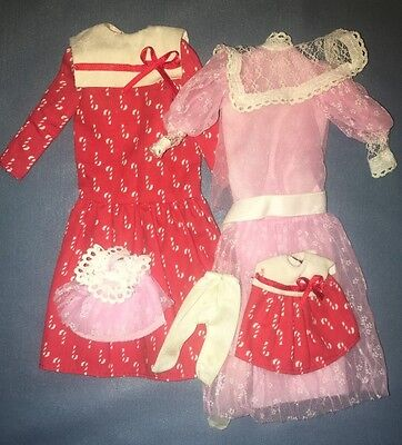 Lot 1980 Barbie  Heart Family Outfits Pink Dress Candy Cane Dress Mommy & Baby