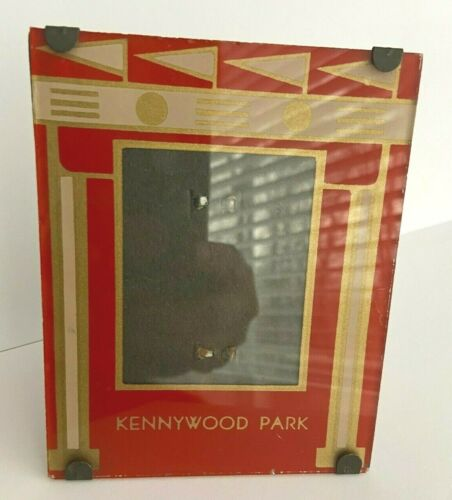 """Early ART DECO Glass Picture Frame Pittsburgh KENNYWOOD PARK Amusement 4"""" x 5"""""""
