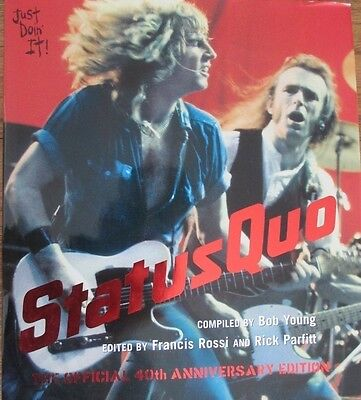 Signed Status Quo Rick Parfitt & Francis Ross Autographed Just Doin It Book