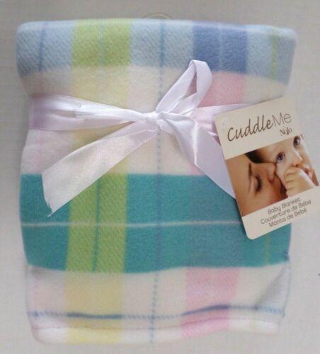 Cuddle Me Nojo Lightweight Fleece Baby Blanket Blue/Pink/Aqua/Yellow Plaid 30x40