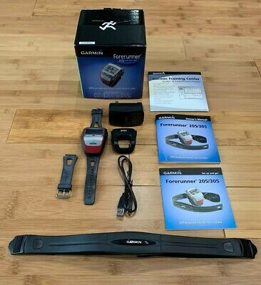 Garmin Forerunner 305 GPS Running Watch & Heart Rate Chest Strap w Accessories