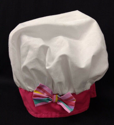 Kids Girls Toddlers Halloween Costume White Chef Hat With Pink Bottom & Bow - Toddler Chef Costume Halloween