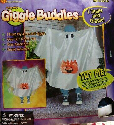 Vintage Giggle Buddies Pumpkin Ghost Boy Animated Halloween Greeter Gemmy 2002