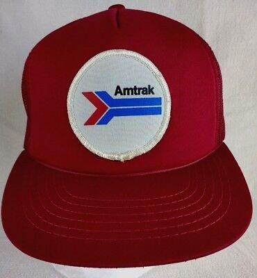 Vintage Amtrak Meshback Foam Snapback Trucker Hat Red Maroon Burgundy CM01