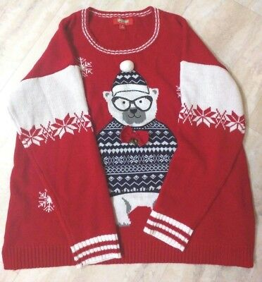 BRAND NEW Red Holiday Ugly Sweater Polar Bear Snowflake Pom Pom Bling Bells 1X  ()