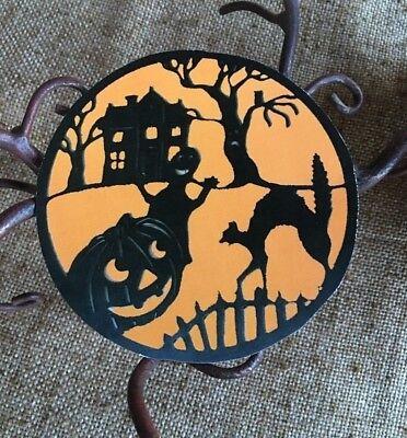 Vintage Halloween Scenes (Vintage Repro Orange, Black Silhouette Halloween Scene Mini Scrap Decoration,)