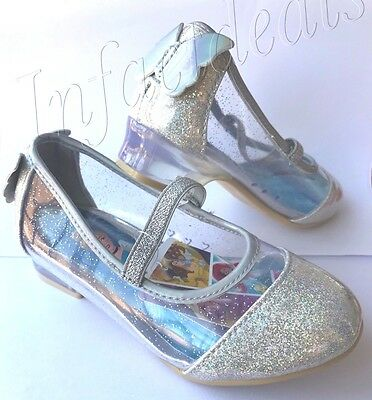 Cinderella Shoes For Kids (Kids New Disney Princess Cinderella silver clear glitter shoes slippers size)