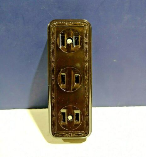 Leviton BROWN Vintage JUMBO Surface Mount Triple RECEPTACLE Outlet 323-B NEW