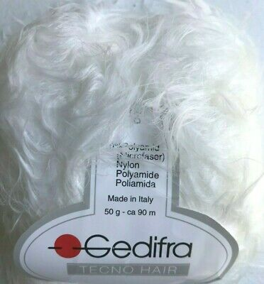 Gedifra TECNO HAIR #9611 White Soft Fuzzy Furry Long Eyelash Yarn Skein -