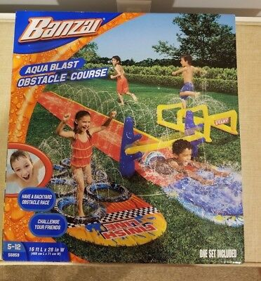 Blast Water Slide (NEW BANZAI AQUA BLAST OBSTACLE COURSE 16FT LONG WATER SLIDE FACTORY SEALED )