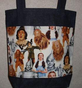 NEW Medium Denim Tote Bag Purse Handmade/w Wizard of Oz Tossed Characters Fabric
