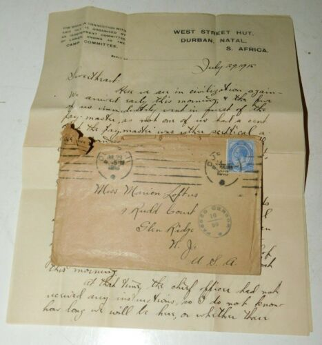 1918 WW1 Durban Natal South Africa U.S. Soldier Letter Home