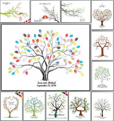 Thumbprint Fingerprint Tree Wedding Sign Guest Book Canvas Painting+Inkpad](Wedding Guest Tree)