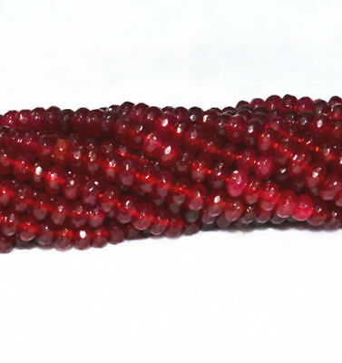 Natural Faceted 4x6mm Dark Red Ruby Gemstone Abacus Rondelle Loose Beads 15""
