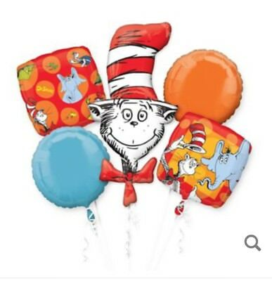 Dr. Seuss Cat in the Hat Balloon Bouquet Birthday Party Decoration Supplies ~5pc](Cat In The Hat Birthday Decorations)