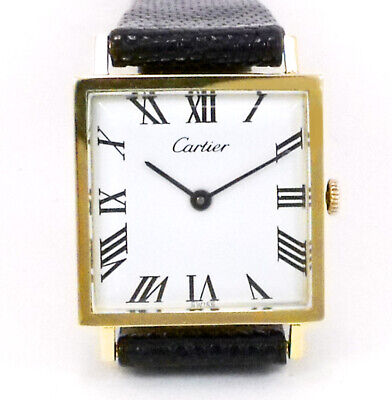 Cartier Men's Vintage 1950's Solid 14k Gold Square Watch with Cartier Box