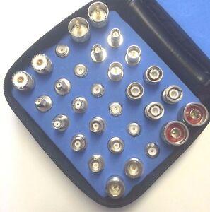 30-Pc Universal RF Adapter Kit Coaxial Connector Set N TNC BNC SMA UHF MINI-UHF
