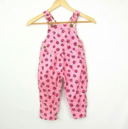 1980s Vintage Corduroy Overalls Size 24 Mos Pink Roses Carters USA