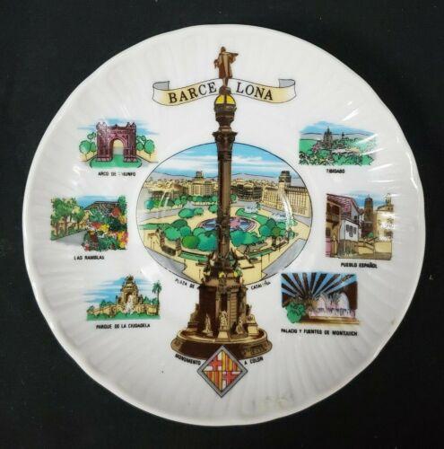 """VINTAGE ~ Barcelona Porcelain 4.5"""" Souvenir Plate Land Marks of Spain"""