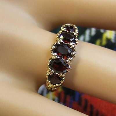 9 ct GOLD second hand 5 stone garnet ring