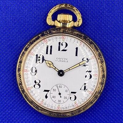 Orvin 17J Railroad Dial & Case Tradition Watch Co. Movement Antique Pocket Watch
