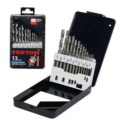 13 Piece Steel HSS Drill Bit Set High Performance Multi Purpose Tekton 7295