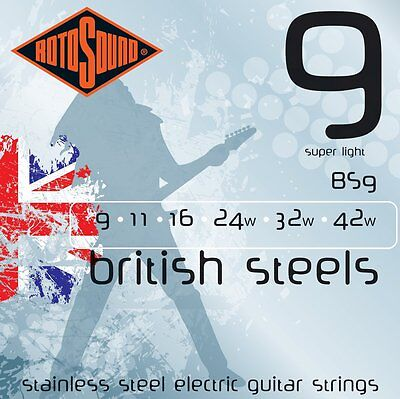 ROTOSOUND BRITISH STEEL BS9 STAINLESS STEEL ELECTRIC GUITAR STRINGS 9-42 2 PACKS