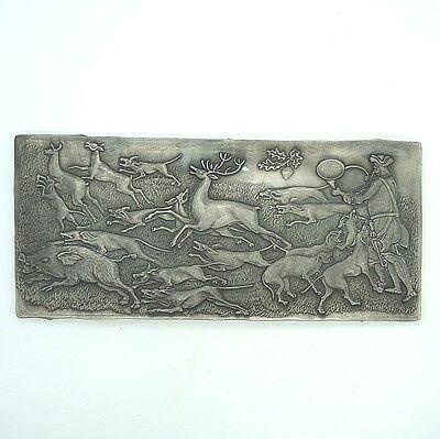 Altes Zinn Relief Bild massiv Zinn Jagd Jäger Hatz ca. 30 x 15 cm Pewter Etain