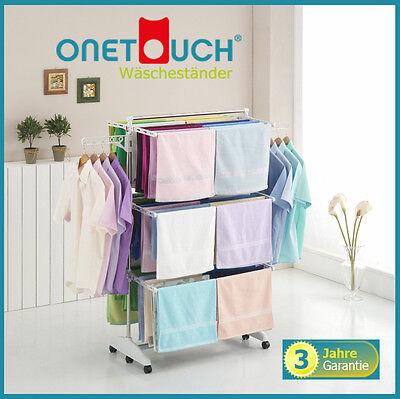 OneTouch Wäscheständer® 3 Ebenen Edelstahl weiß Wäscheturm Wäschetrockner