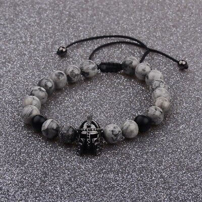 Men Charm Black Spartan Helmet Beaded Natural Stone Adjustable Braided Bracelets