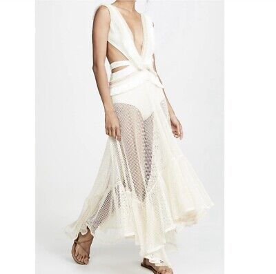 NWT PatBo Fringe and Mesh Cutout Maxi Dress - Medium