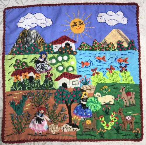 "Applique Quilt Pillow Case 16""x16""Arpillera-3D Hand Embroidered peruvian Village"