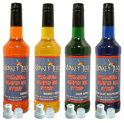 4 Bottles Of Snow Cone Syrup - Made With Pure Cane Sugar